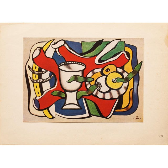 This striking and rare tipped-in large original period offset lithograph after painting Nature Morte Au Vase Blanc (Still...