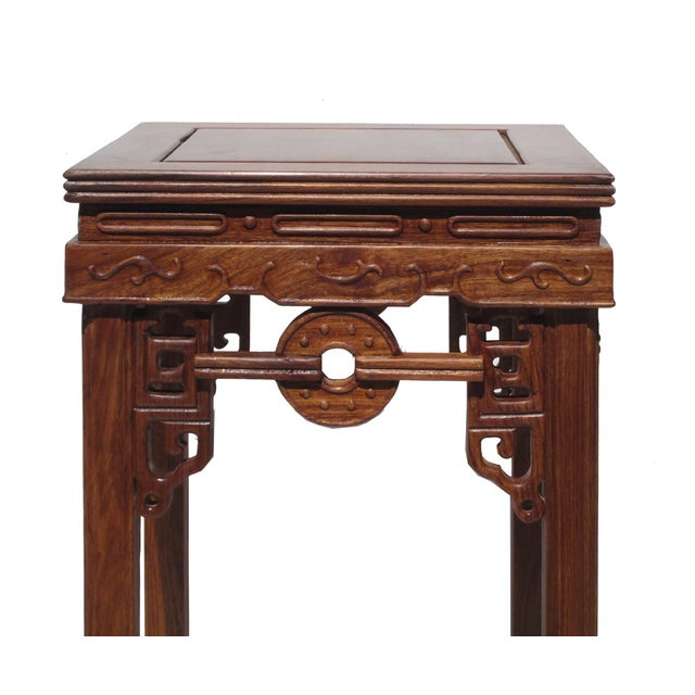 Chinese Rosewood Coin Pattern Square Plant Stand - Image 4 of 5