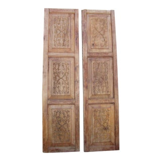 Carved Wooden Wall Panels - a Pair For Sale