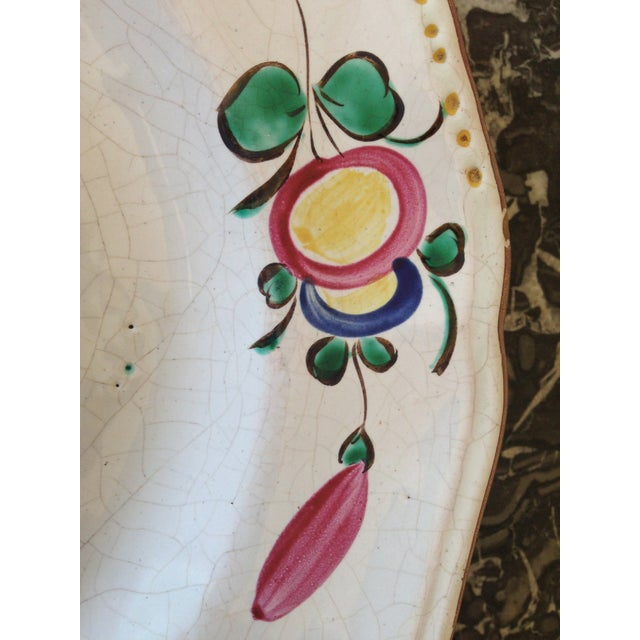 French Hand Painted Flower Faience Wall Plaque - Image 5 of 9