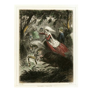 Antique Engraving - Saving Beauty From Wild Boar, C. 1850
