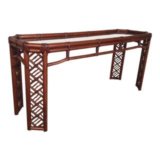 Bamboo Chinese Chippendale Console Table For Sale