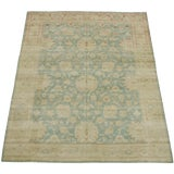 Image of Early 19th Century Gold and Blule Antique Turkish Tribal Oushak Area Rug 13'9'' X 10'ft For Sale