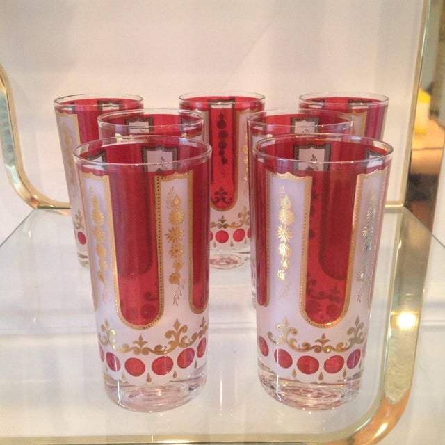 Red and Gold Mid Century Highball Glasses - 7 - Image 2 of 4