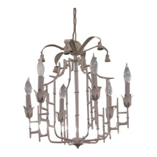 Palm Beach Faux Bamboo Pagoda Chandelier For Sale