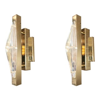 Crystal Gold Sconces / Flush Mounts by Fabio Ltd For Sale