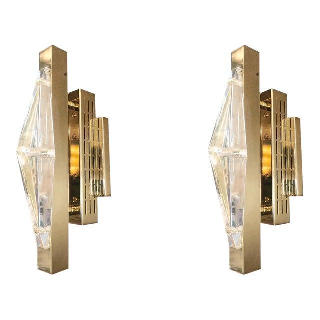Crystal Gold Sconces / Flush Mounts by Fabio Ltd For Sale