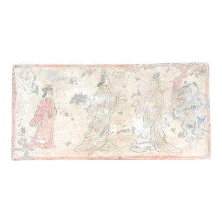 Marvelous Hand Painted Liao Dynasty Style Mural Tile For Sale