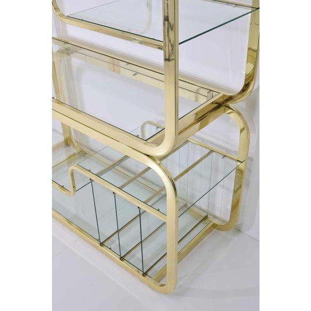 Gold Milo Baughman Brass Finish Étagère For Sale - Image 8 of 9