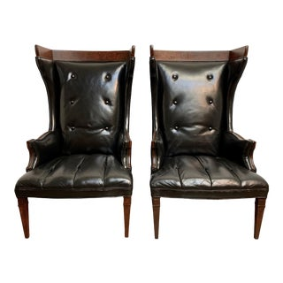 Leather and Velvet Wingback Chairs - a Pair For Sale