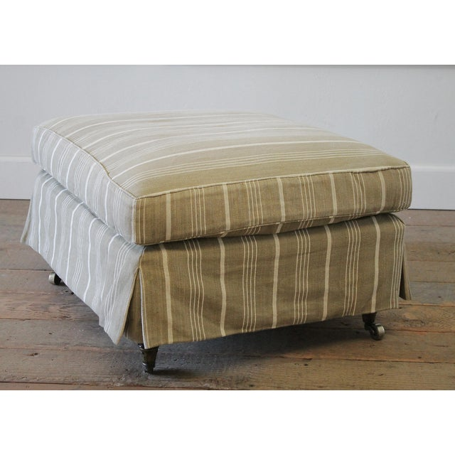Napoleon Style Linen Stripe Slip Cover Chair and Ottoman For Sale - Image 11 of 12
