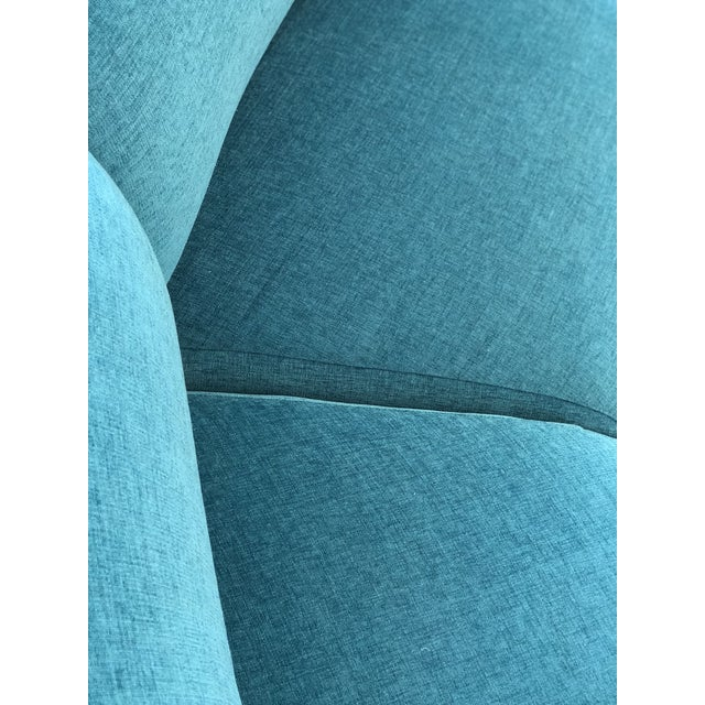 Vintage Turquoise Semi Circle Sofa - Image 6 of 9