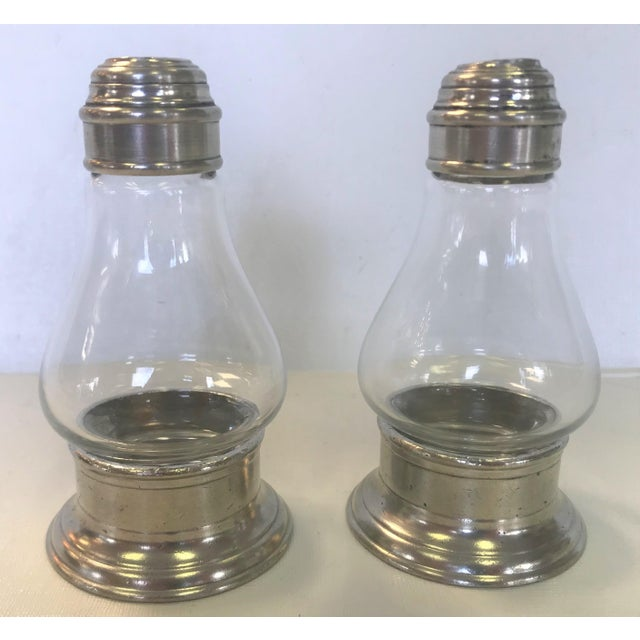 Beautiful handmade Italian pewter and glass salt and pepper shakers. These are in the timeless 'Sienna' style by Match....
