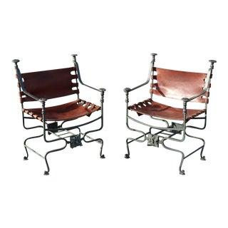 Pair Italian Bronze and Iron Dante Savonarola Chairs For Sale
