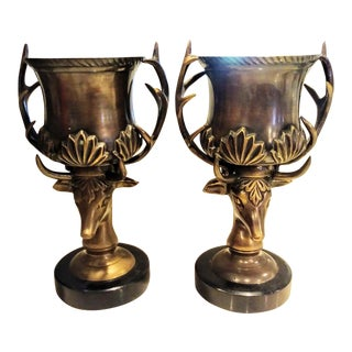 A Pair of Decorative Brass Reindeer Head Urn Vase Cups For Sale