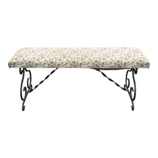 Vintage Spanish Style Metal Floral Design Bench For Sale