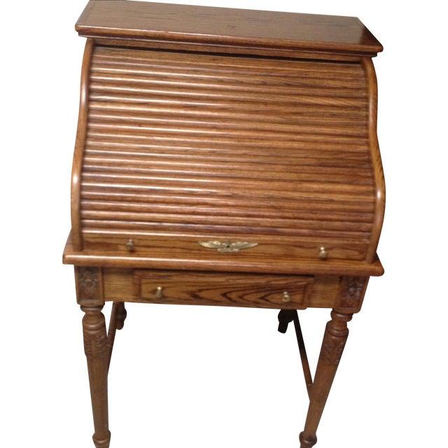 Eagle Craft Oak Roll Top Secretary Desk For Sale