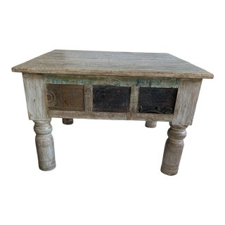 Architectural Hand Carved Antique Anglo-Indian Coffee/Side Table For Sale