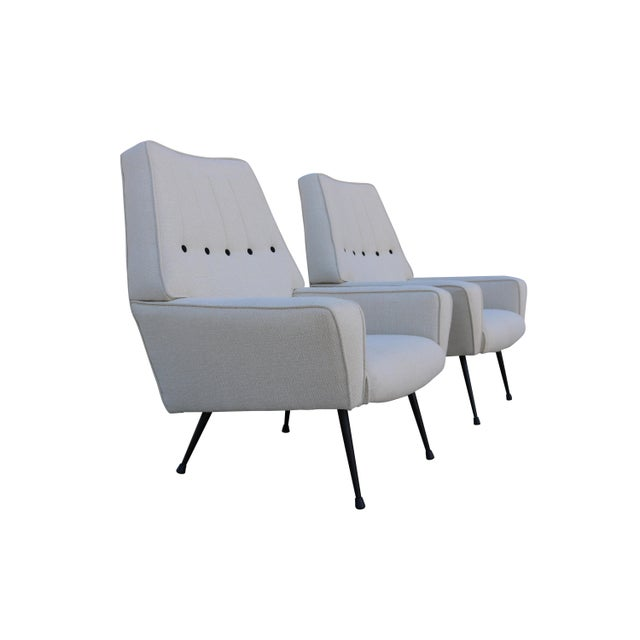 Mid-Century Black & White Italian Armchairs - A Pair - Image 5 of 5