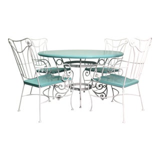 Vintage Turquoise and White Wood & Iron Dining Set For Sale