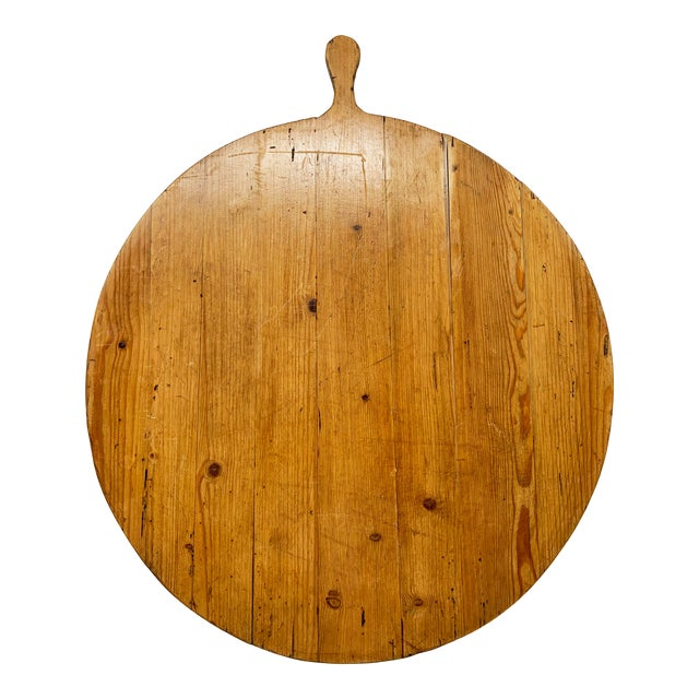 Early 20th C Antique French Pine Boulangerie Round Breadboard For Sale