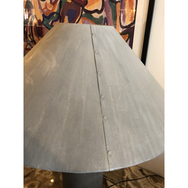 1940s Industrial Concrete Lamps Made From Factory Rollers - a Pair For Sale - Image 9 of 13