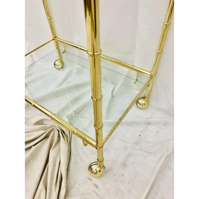 Metal Vintage Hollywood Regency Faux Bamboo Bar Cart For Sale - Image 7 of 8