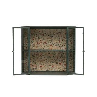 Floral Blue Metal Cabinet For Sale