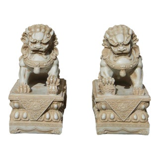 Pair Chinese Off White Marble Like Fengshui Foo Dogs For Sale