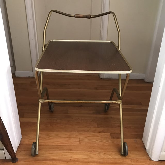 Mid-Century Rolling Serving Tray Bar Cart For Sale - Image 5 of 9