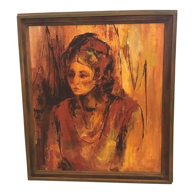 Mid-Century Original Portrait of a Woman Painting For Sale