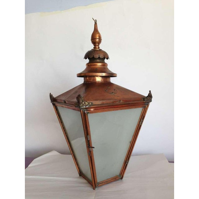 Grand Late 19th C. English Copper Hanging Lantern For Sale - Image 4 of 5