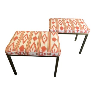 Mid Century Modern Brass and Upholstered Benches by Mastercraft- a Pair For Sale
