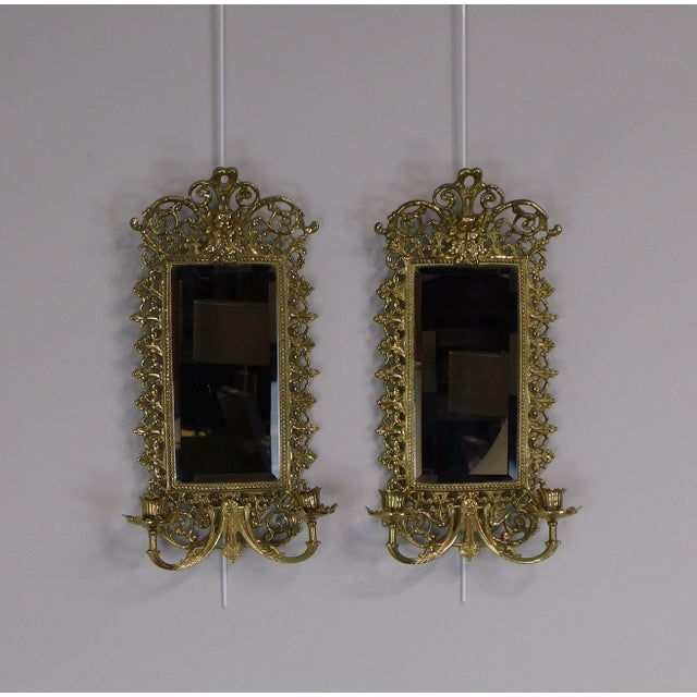 Baroque Pair Virginia Metal Crafters Brass Twin Candle Mirrored Sconces, Colonial Williamsburg For Sale - Image 3 of 12
