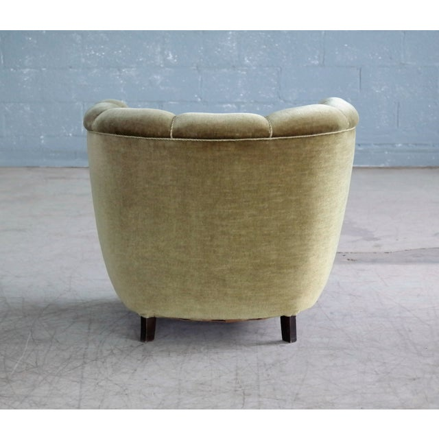 Danish 1940s Viggo Boesen Style Club Chair in Beech and Mohair For Sale - Image 9 of 10