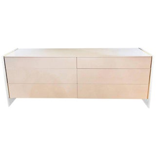 Mid-Century Modern White Dresser or Commode with Lucite Sides by John Stuart For Sale