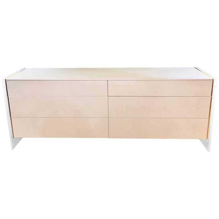 Merveilleux Mid Century Modern White Dresser Or Commode With Lucite Sides By John Stuart
