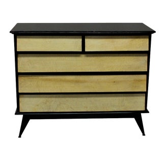 An Italian Black Lacquered & Parchment Chest For Sale