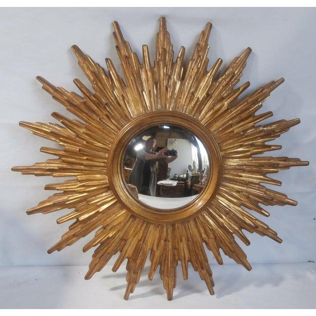 French Sunburst Gilded Wood Mirror - Image 2 of 4