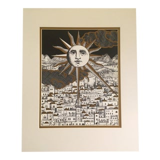 Vintage Fornasetti Sun Over City Print