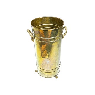 1960s Hollywood Regency Footed Solid Brass Umbrella Stand For Sale