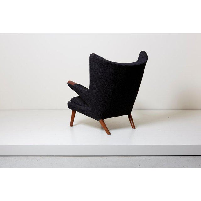 1960s Hans J. Wegner Papa Bear Chair in Black Fabric For Sale - Image 5 of 10