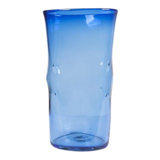 1960 Vintage Blenko Blue Vase For Sale