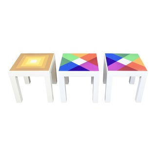 Trio of Mod Pop Art Plastic Parsons Style Square Side Tables Style Kartell or Syroco For Sale