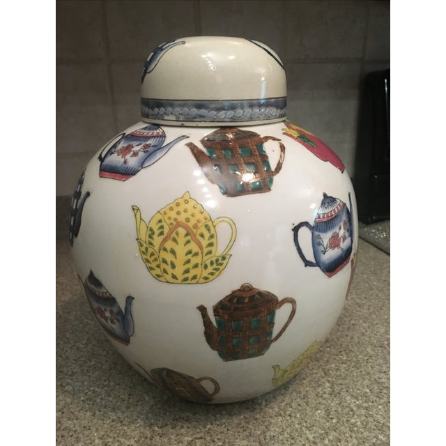 Ceramic Ginger Jar with Hand Painted Teapot Motif - Image 3 of 7