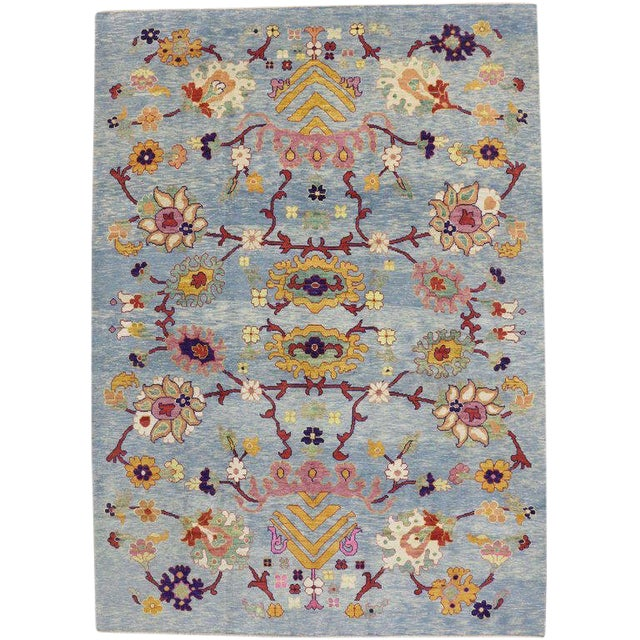"""Turkish Oushak Modern Style Floral Blue Area Rug - 10'7"""" X 14'8"""" For Sale"""