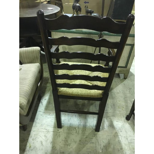 Georgian Four English Oak Ladder Back Armchairs For Sale - Image 3 of 7