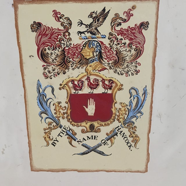 John Hancock anniversary tray with replica Hancock coat of arms. Made in the 1960s in the style of traditional.