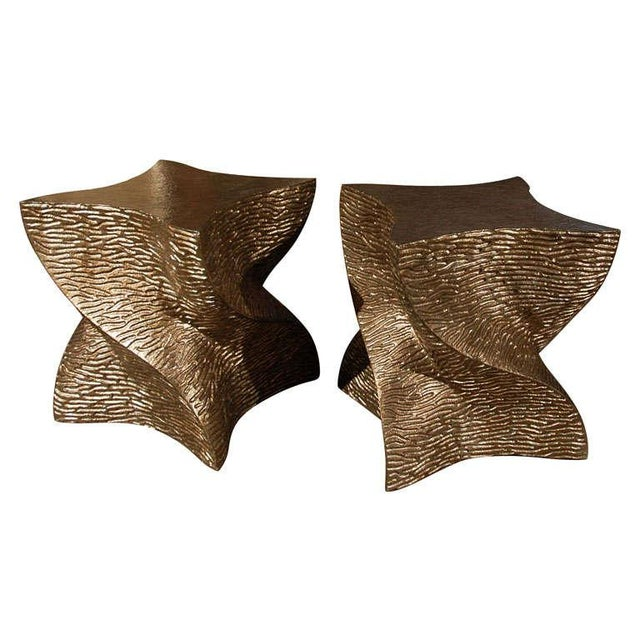Paul Marra Twist Side Table finished in a textured bronze-gold. These are solid and heavy, so can also be used for seating...