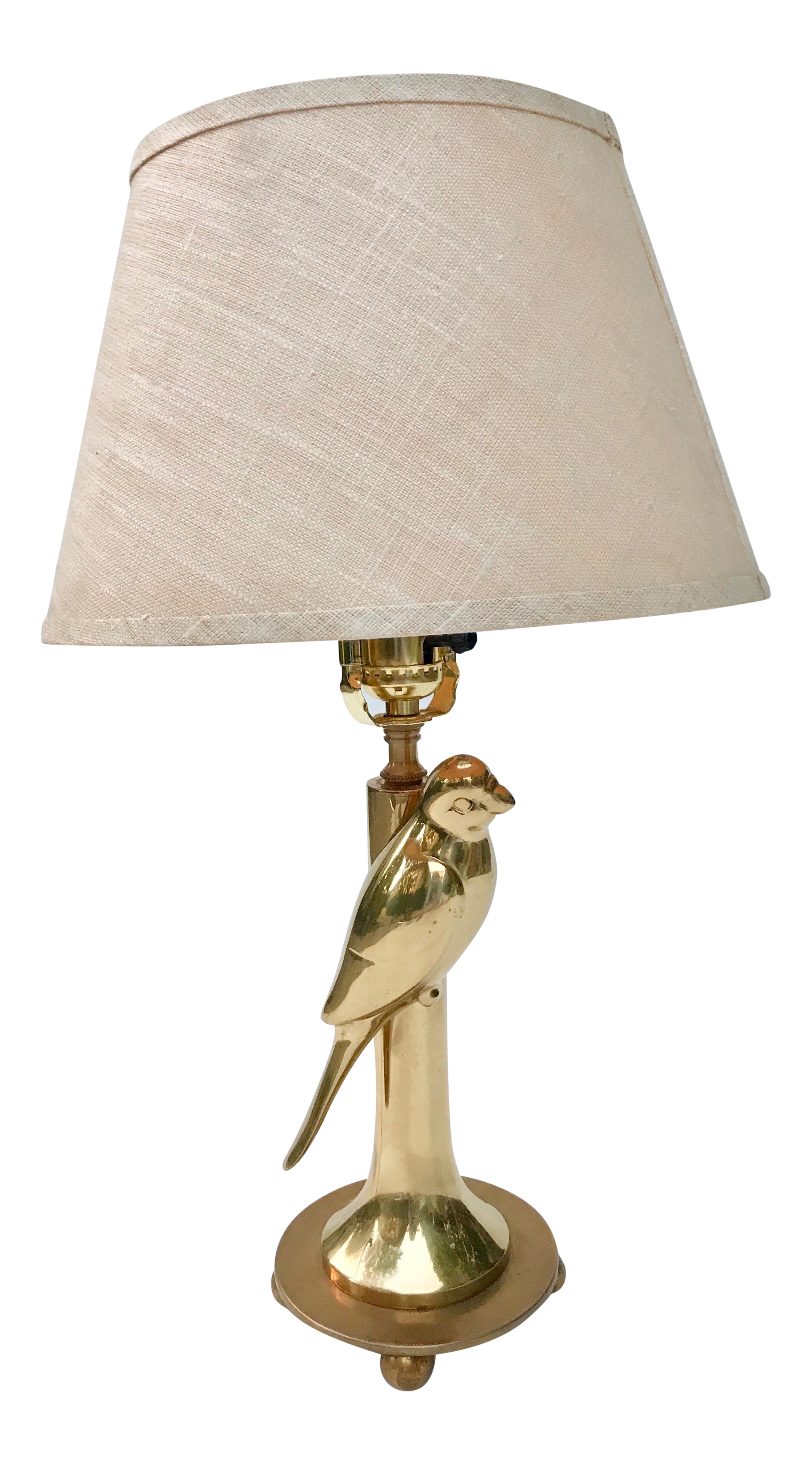 Mid Century Modern Brass Parrot Table Lamp For Sale